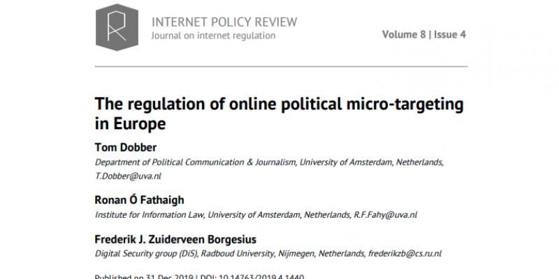 Regulation of online political microtargeting