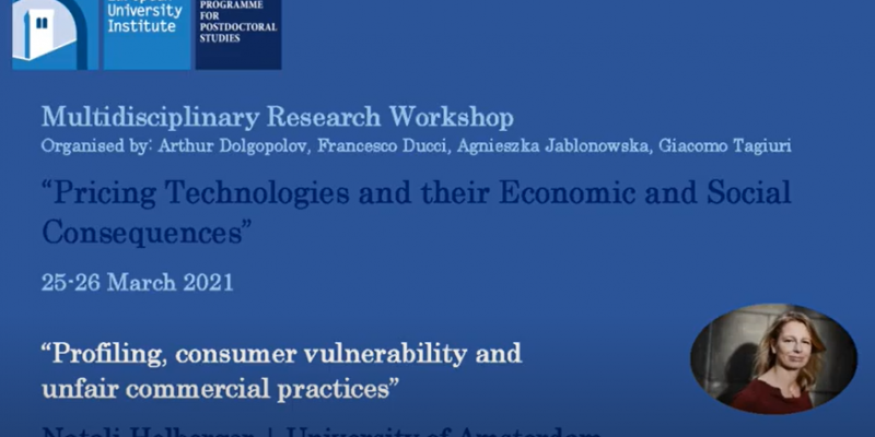 PriTech Workshop On Price Discrimination And Behavioural And Psychographic Targeting With Natali Helberger